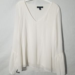 Banana republic  off white lined blouse bell sleev